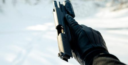 gas airsoft pistol in the cold image