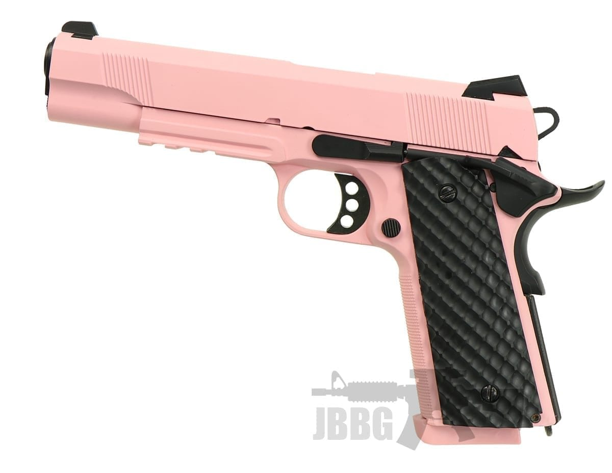 Raven MEU 1911 Airsoft GBB Pistol Pink with Rail