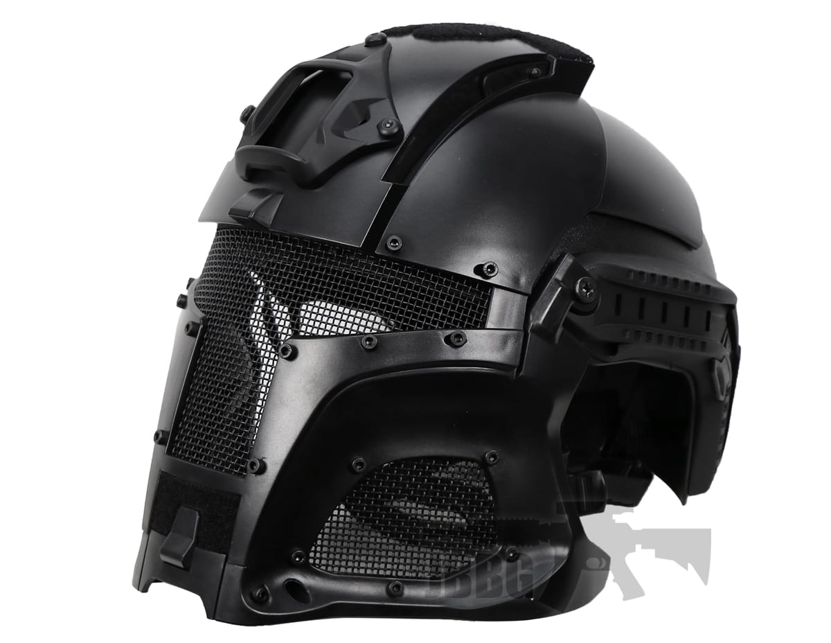 black medieval iron warrior full head coverage airsoft helmet