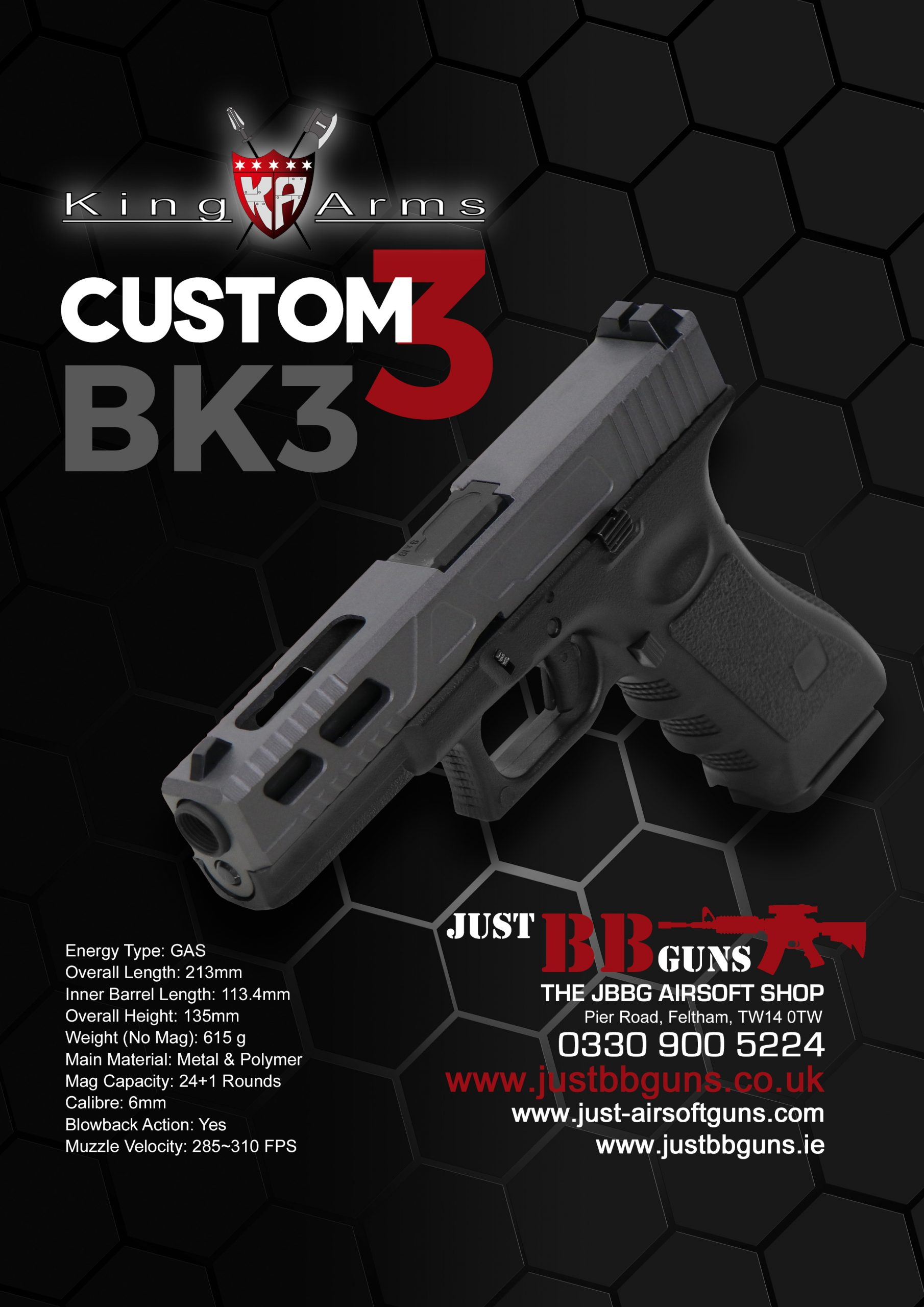 King Arms Custom 3 Airsoft Pistol BK3